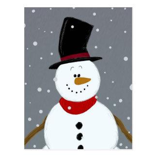Snowman - Silver Postcard