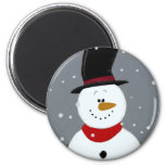Snowman - Silver Refrigerator Magnet