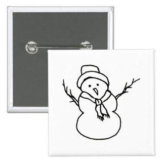 Snowman - simple sweet ink line drawing art design pin