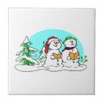 Snowman Singing Christmas Carols Ceramic Tile