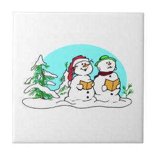 Snowman Singing Christmas Carols Tile