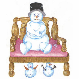 Snowman Sitting On A Bench Brooch Pin Photo Cutout
