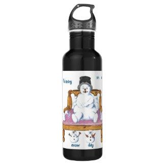 Snowman Sitting on themed bench Liberty Water Bott 24oz Water Bottle