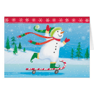 Snowman Skateboarding Greeting Card