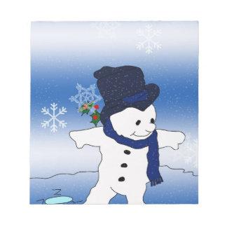 Snowman Skating in Blue Notepad