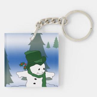 Snowman Skating in Green Keychain
