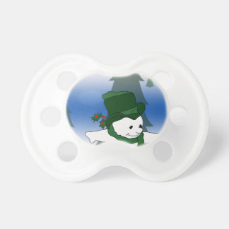 Snowman Skating in Green Pacifier