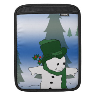 Snowman Skating in Green Sleeve For iPads