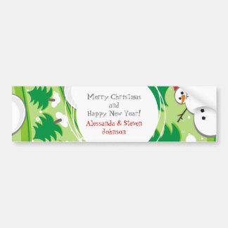 snowman ski seamless on green car bumper sticker