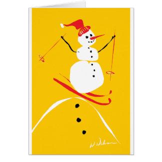 Snowman skiing greeting card