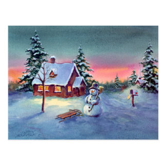 SNOWMAN & SLED by SHARON SHARPE Postcard