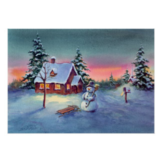 SNOWMAN & SLED by SHARON SHARPE Poster