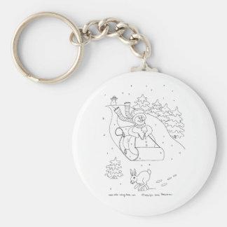 Snowman Sleigh Basic Round Button Keychain