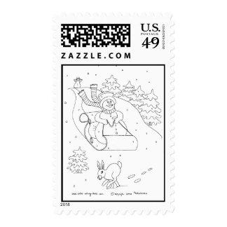 Snowman Sleigh Postage Stamp