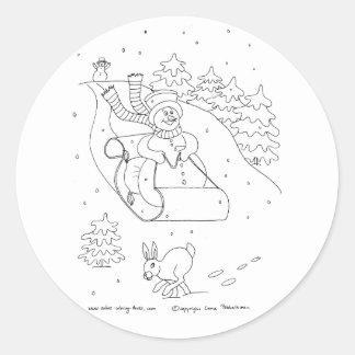Snowman Sleigh Round Stickers
