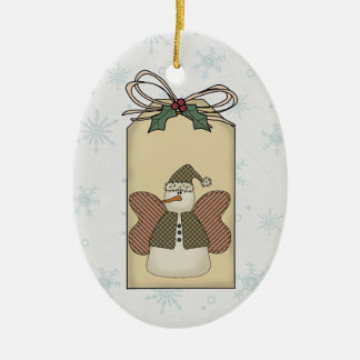 Snowman Snow Angel Gift Tag Ornament