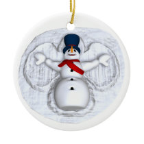 Snowman Snow Angel Ornament