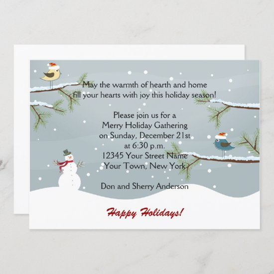 Snowman Snow Birds Holiday Party Invitations