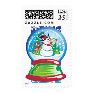 Snowman snow dome postage