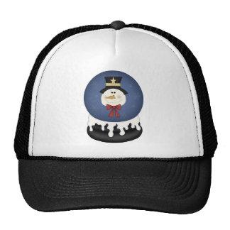 Snowman snow globe trucker hat