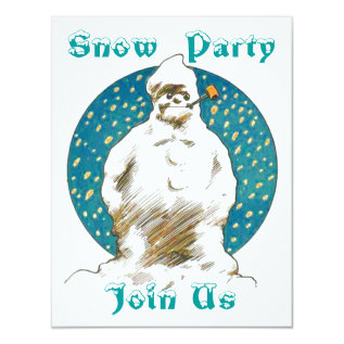 SNOWMAN SNOW WINTER FUN ~ PARTY INVITATION INVITE at Zazzle