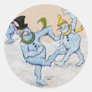Snowman Snowball Fight Classic Round Sticker