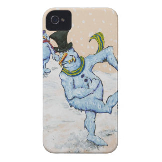 Snowman Snowball Fight iPhone 4 Case-Mate Case