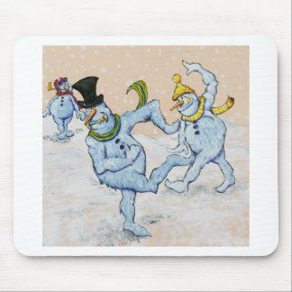 Snowman Snowball Fight Mouse Pad