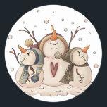"""Snowman Snowflake Christmas Country Primitive Classic Round Sticker<br><div class=""""desc"""">Snowman Snowflake Christmas Winter Country Primitive Gift Wrap Paper</div>"""