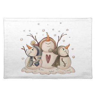 Snowman Snowflake Country Winter Primitive Cloth Placemat