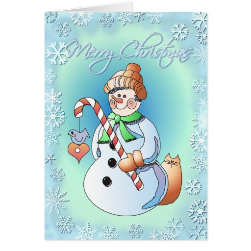 SNOWMAN & SNOWFLAKES by SHARON SHARPE Card