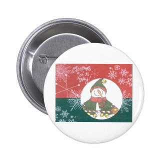 Snowman Snowflakes Christmas Art Design Holiday Pinback Button