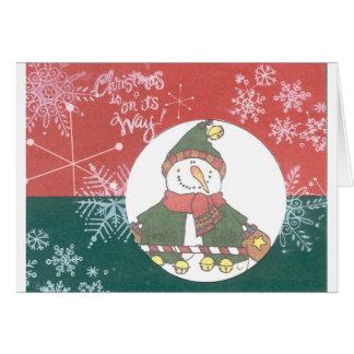Snowman Snowflakes Christmas Art Design Holiday Card