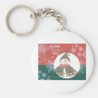 Snowman Snowflakes Christmas Art Design Holiday Keychain