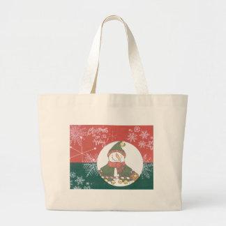 Snowman Snowflakes Christmas Art Design Holiday Large Tote Bag