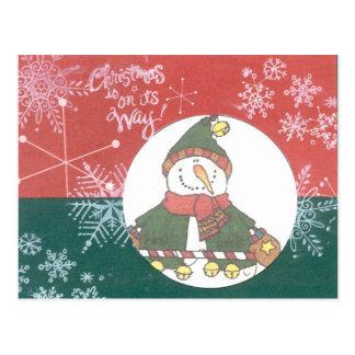 Snowman Snowflakes Christmas Art Design Holiday Postcard