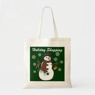 Snowman & Snowflakes Holiday Shopping - Tote Bag