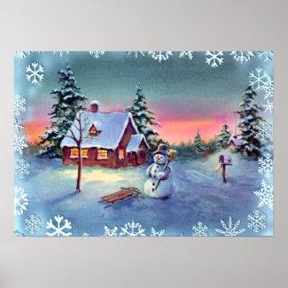 SNOWMAN, SNOWFLAKES & SLED by SHARON SHARPE print