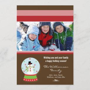 Snowman Snowglobe Custom Family Holiday Card