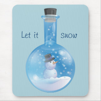 Snowman snowglobe flask mouse pad