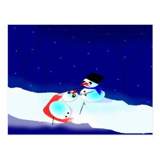 Snowman, Snowwoman Humor Scene Postcard
