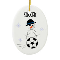 Snowman Soccer Player Ceramic Ornament