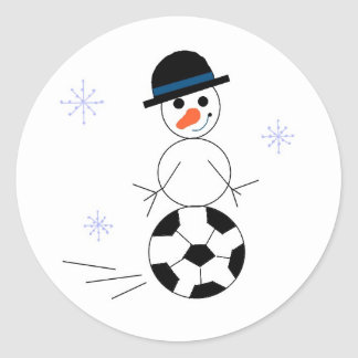 Snowman Soccer Player Classic Round Sticker