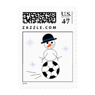 Snowman Soccer Player Postage