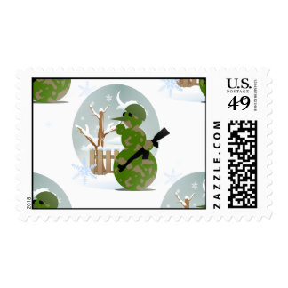 snowman soldier christmas postage