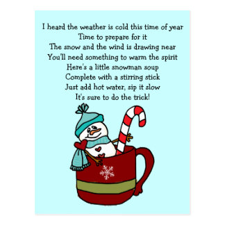Snowman Soup Coffee Cup Mug Candy Cane and Hearts Postcard