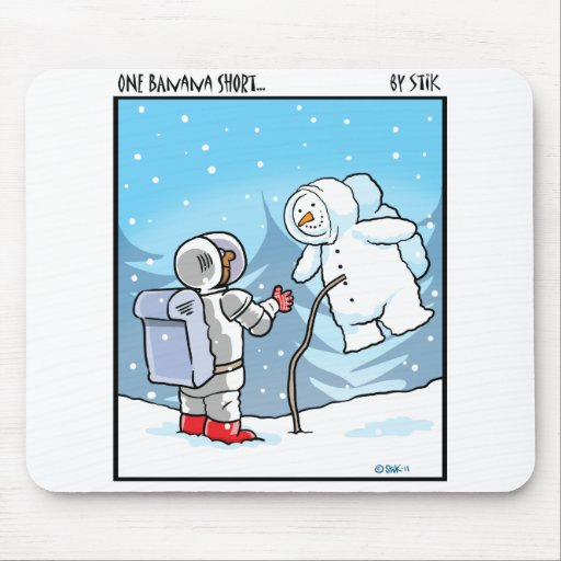 Snowman Spaceman Mouse Pad