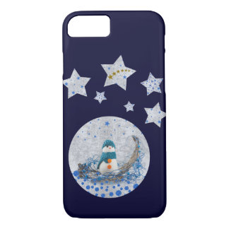 Snowman, sparkly blue stars, gold stars on blue iPhone 7 case