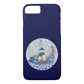 Snowman, sparkly blue stars iPhone 7 case