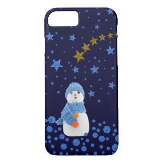Snowman, sparkly blue stars on blue iPhone 8/7 case